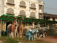 Animal statuary (SierraSunrise) Tags: thailand phonphisai nongkhai isaan esarn statues animals cute elephants giraffe