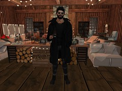 Hot Coffee at Saturday! (MAD Warblood) Tags: secondlife coffee saturday mood hot sexy fu valekoer black parka versov blue jean crybaby boots gold vex necklace