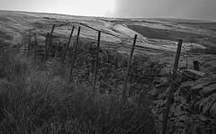 Dry stone wall near the top of the Wessenden Road to Binn Lane path near Rams Clough, Butterley Reservoir, Marsden (OM 50mm lens). (kyliepics) Tags: olympus e520 evolt520 om50mmf18 blackwhite darktable addedtogroups