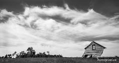 The Lean (burntpixel.ca) Tags: canada manitoba photo photograph rural fine art patrick mcneill burntpixel beautiful amazing landscape canon horizontal nature prairie panorama 50d canon50d monochrome blackandwhite black white abandoned rurex history lean leaning clouds sky barn house forgotten