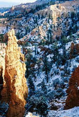 Snowy Bryce Canyon on film (1997) (mkk707) Tags: film analog 35mmfilm leicar4 leicasummicronr50 kodakgold100 wwwmeinfilmlabde itsaleica vintagelens vintagefilmcamera desertsouthwest brycecanyon usa germancameras