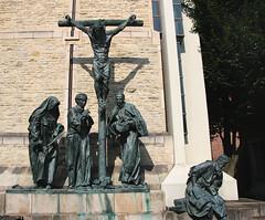 Contemporary Golgotha (Marie Kappweiler) Tags: münster munster germany deutschland dom cathedral kreuzgang church église kirche outdoor sculpture crucifixion brionze bronze