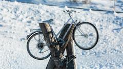 Bike stop (Nicola Pezzoli) Tags: italy italia val gardena dolomiti dolomites mountain winter alto adige snow neve nature natura bolzano bike passo sella sculpture art