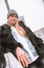 MERIT-2150120 (qauqe) Tags: tartu estonia model female girl woman beanie chick fashion ootd leica timberland footwear red urban streetwear furcoat fur jacket smile laughter winter