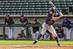 # 6 at the Plate (CODA: MARINE 475) Tags: baseball byu bringhamyoung northwestern university college batter dugout athlete uniform cap stirrups socks spikes cleats navy blue grass field ballpark sports action portrait smile cougarsvswildcats