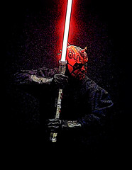 If You Strike Me Down (Steve Taylor (Photography)) Tags: darthmaul starwars costume black red newzealand nz southisland canterbury christchurch armaggedon lightsword lightsaber digitalart impressionist portrait blue purple white man glow texture vigenette armageddonexpo