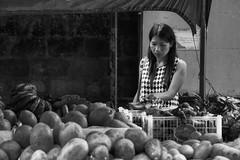 Choosing Bananas (Beegee49) Tags: woman street bananas stall choosing filipina blackandwhite monachrome bw sony a6000 luminar silay city philippines asia