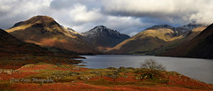 Remnants of snow: Wasdale. (trev.eales) Tags: wasdale wastwater yewbarrow greatgable linfmell scafellpike middlefell thescrees water lake lakedistrict landscape cumbria nationalpark mountains grass fells tree nikon treveales