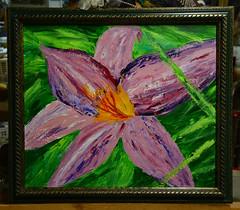 Art + Thrift (BKHagar *Kim*) Tags: bkhagar art artwork painting paint acrylic cardboard thriftstoreframe frame green floral momdadsyard yard