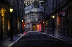 Forbidden  Darkness (Dimmilan) Tags: uk england london city urban street building nightlight architecture night reflection windows lamp dusk twilight
