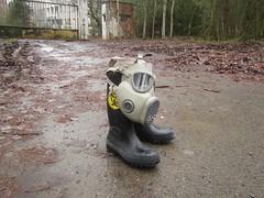 Urbex essentials (CZDiver) Tags: gasmask gasmaske m10gasmask rubberboots urbanexploring urbex urbanexploration