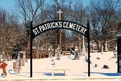 St. Patrick's Cemetery - McHenry, Illinois (Cragin Spring) Tags: midwest mchenrycounty mchenry mchenryil mchenryillinois illinois il unitedstates usa unitedstatesofamerica winter snow headstones cemetery stpatrickscemetery stpatricks cross