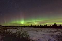 10:56pm  Happy Friday (John Andersen (JPAndersen images)) Tags: alberta aurora fence night sibbaldflats