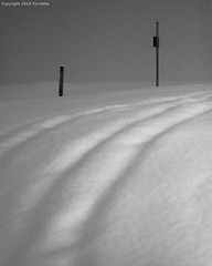 3 rills and 2 poles (Furcletta) Tags: nikond800 outdoor places europe switzerland arosa che snow winter lowkey lense 70200mm28efl handheld snowfall daylight lowlight poles rills foggy colours black white bended gr