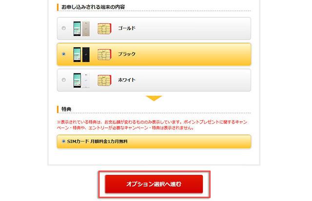 楽天モバイルのサービス詳細選択確認