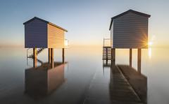 Two Huts (Nathan J Hammonds) Tags: osea beach huts heybridge basin water coast essex uk tide reflection sunset sunburst long exposure hdr nikon nisi nd filter 10stop fineart colour