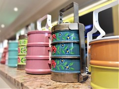 tiffin carriers (SM Tham) Tags: asia southeastasia malaysia kualalumpur midvalley shoppingmall alibabanyonya restaurant interior decor interiordesign tiffincarriers dabbas foodcontainers lunchboxes metal enamel painted tiers holder objects