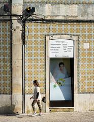 'Runaway Bride' (Canadapt) Tags: woman street ad bride poster walk wall tile santarém portugal canadapt