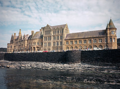 The Old College (Howie Mudge LRPS BPE1*) Tags: theoldcollege abertstwyth ceredigion wales cymru uk travel adventure old history historical bluesky clouds sea wall fujiga645 documentary kodakektar100 expiredfilm 120film mediumformat analogphotography analog film filmisntdead filmphotography ishootfilm believeinfilm 6x45