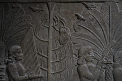 Birds detail, with head of Ashurbanipal's enemy hanging from a tree (PChamaeleoMH) Tags: assyrian britishmuseum exhibition frieze london museum relief
