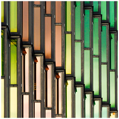 Glass pattern (Jeroen Noot) Tags: 2014 nikon stad gebouwen netherlands architecture buildings d7000 nederland amsterdam city glass coulour colour coloured design coloredglass green yellow gold europe europa abstract lines b square bsquare squared squarecrop