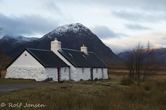 Black Rock Cottage (rjonsen) Tags: cabin cottage glencoe mountain munrow bluesky moody winter scotland alba morning tree highlands snow