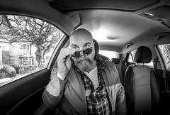Cars and selfies. . . (CWhatPhotos) Tags: cwhatphotos mono monochromebw black white portrait inside art artisrtic self selfie olympus penf m zuiko 8mm prime lens f18 four thirds wide angle fisheye fish eye view digital camera photographs photograph pics pictures pic picture image images foto fotos photography artistic that have which with contain artistc light auto automobile car hyundai i20 12se 12 se vehicle 2017 new brand man male driver driving interior goatee