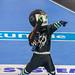 Futuristisches Maskottchen an Handball Weltmeisterschaft 2019 auf Handballfeld