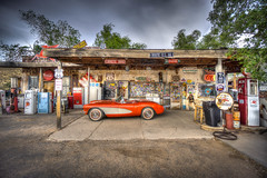 Corvette (UpsNClowns) Tags: corvette a6000 sony gas station hdr sel1018 arizona travel usa reisen route66