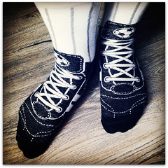 Bring your boots! (Jason 87030) Tags: socks soccer ball balls foorball cobblers ntfc smalls clothing black white floor clothes foot feet tootsies fun result frame odd strange different lace laces sport
