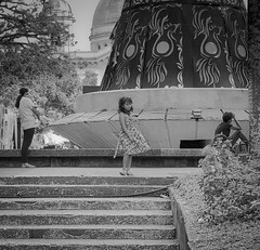 Girl on the Steps. (Beegee49) Tags: street child girl mother maybe baby sitting blackandwhite monochrome sony a6000 silay city philippines asia