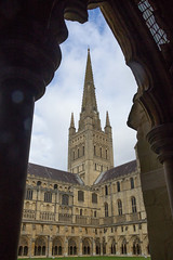 IMG_5188  Spire from the cloister Norwich Cathedral (Beth Hartle Photographs2013) Tags: norfolk norwich cathedral anglican ancient historic benedictine monastery churchofengland cloister 13thcentury