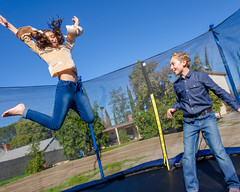 Trampoline Jump (Kevin MG) Tags: ka1 ma1 tummy bellybutton boy handsome girl young youth cute pretty little kids children schoolage trampoline posing fun funny adorable adolescent preteen jeans demin jumping barefoot outdoor home backyard