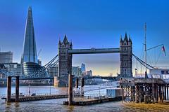 London HDR (Croydon Clicker) Tags: hdr bracketing exposuremerge towerbridge shard cityhall river water sky jetty flag london thames wapping bridge tower skyscraper building architecture