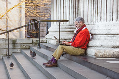 Pigeon Programmer (DobingDesign) Tags: streetphotography birds pigeons steps columns laptop computer typing levels man people london londonstreets red scarf sittingdown alone working pigeonsonthestreet readingglasses posture candid serious
