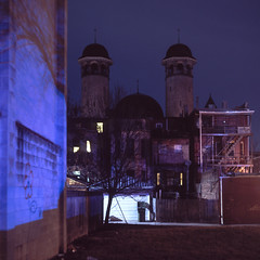 (patrickjoust) Tags: mamiya c330 s sekor 80mm f28 fujichrome t64 tlr twin lens reflex 120 6x6 medium format fuji chrome slide e6 color reversal expired tungsten balanced film cable release tripod long exposure night after dark manual focus analog mechanical patrick joust patrickjoust baltimore maryland md usa us united states north america estados unidos urban street city old synagogue blue light shadow tree row house home tower