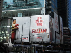 IMG_4447 (Brechtbug) Tags: shazam billboard 42nd street new captain marvel the big red cheese poster ad nyc 2019 times square movie billboards york city work working worker paint painting advertisement dc comic comics hero superhero alien dark knight bat adventure national periodicals publication book character near broadway shield s insignia blue forty second st fortysecond 03232019 lightning flight flying march