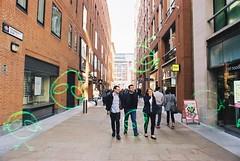 Paternoster Row (Alien) (goodfella2459) Tags: nikonf4 afnikkor24mmf28dlens konoalien200 35mm c41 film analog colour london city pedestrians buildings paternosterrow people