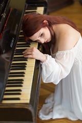 Tired (piotr_szymanek) Tags: anita anitab woman young portrait studio face redhead piano music white dress nobra longhair 1k 20f 50f 5k 100f