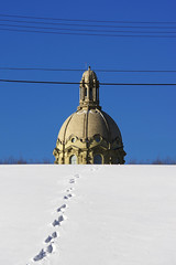 Tracks... (Mister Day) Tags: form balance lines legislature snow tracks dome architecture blue sky edmonton composition