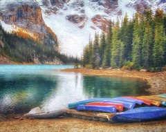 Moraine Lake from the Canoe Docks at Banff National Park, a digital painting (PhotosToArtByMike) Tags: morainelake banff banffnationalpark canoedocks canoes morainelakelodge digitalpainting digitalart painting photopainting digitalpainted computerart computerpainting valleyofthetenpeaks canadianrockies albertacanada mountain mountains emeraldlake bluegreen turquoisecoloredwater