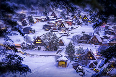 The landscape of Japan. Shirakawago twightlight. Historic Village of Shirakawago in winter, Shirakawa is a village located in Ono District, Gifu Prefecture, Japan. Feb 22, 2019. (pomp_jaideaw) Tags: shirakawago japan winter village snow shirakawa heritage world gifu japanese historic go asia old scene house culture historical town unesco travel white season view traditional tourism cold scenic landmark famous landscape architecture asian sightseeing festival night light snowy tourist up street gassho roof twilight thatched illumination lightup