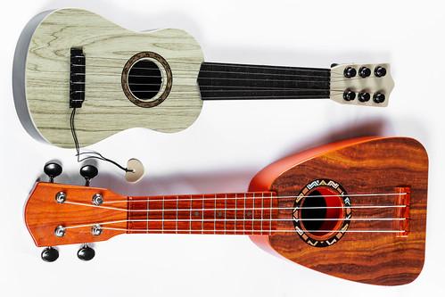 Classical guitar and ukulele on white background