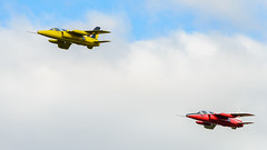 Folland Gnat pair (Mister Electron) Tags: churchfenton nikond800 yorkshireairshow aerobatics aeroplanes airdisplay aircraft airplanes aviation formationflying follandgnat displayteam raf royalairforce