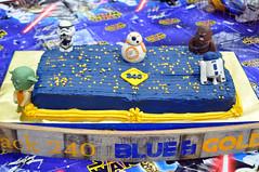Cub Scouts Blue & Gold Ceremony Star Wars Cake 2 (rikkitikitavi) Tags: custom cake dessert vanilla chocolate buttercream fondant handsculpted handmade starwars r2d2 yoda stormtrooper chewbaca bb8 cubscout blueandgoldceremony bluegoldbanquet