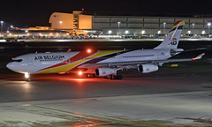OO-ABB - Airbus A340-313 - LHR (Seán Noel O'Connell) Tags: airbelgium ooabb airbus a340313 a340 a343 heathrowairport heathrow lhr egll 27l dxb omdb ba105 baw105 speedbird ba nightphotography aviation avgeek aviationphotography planespotting