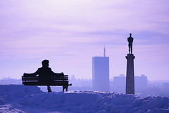 Goodbye Winter! (Marija Mimica) Tags: winter sky city view colors people silhouette skyline