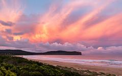 Dragon's breath sunset (Rod Burgess) Tags: nsw southdurras sunset beach australia clouds orange pink headland pointupright canoneos5dmarkiv