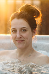 Hot tub portrait (M///S///H) Tags: lenstagger backlit brunette christmas christmasday hottub kelly spa steam sunset