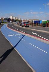 Blue cycleway on Lancaster Street / New Town Row, Birmingham now open! (ell brown) Tags: a34 cycleway birminghamcyclerevolution bluecycleway lancasterst newtownrow birmingham westmidlands england unitedkingdom greatbritain mobile mobileshots sony sonyxperiaxz3 gunquarter